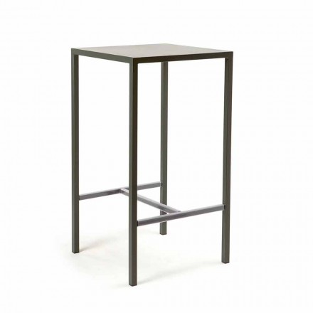Outdoor Painted Metal Square Bar Table Made in Italy - Fada