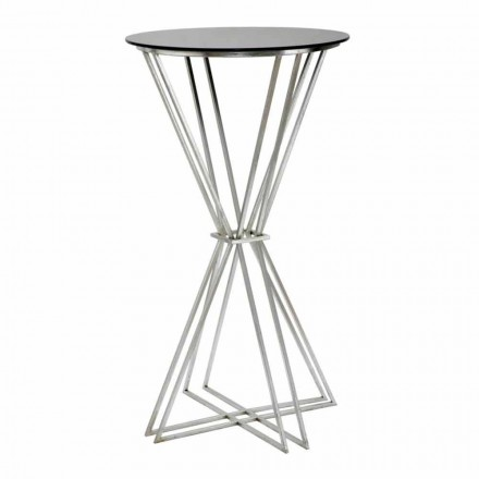 Modern Design Round Bar Table in Iron and Glass - Benita