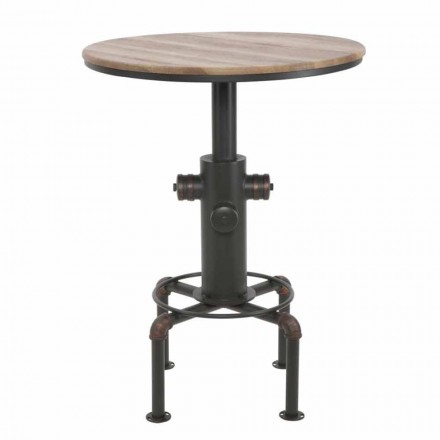 Industrial Style Round Bar Table in Iron and Wood Design - Niv
