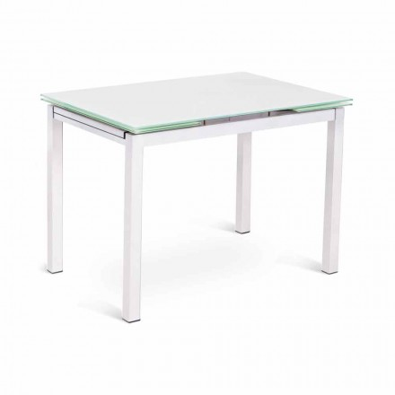 Modern Design Extendable Table up to 200 cm in Glass and Metal - Stamp