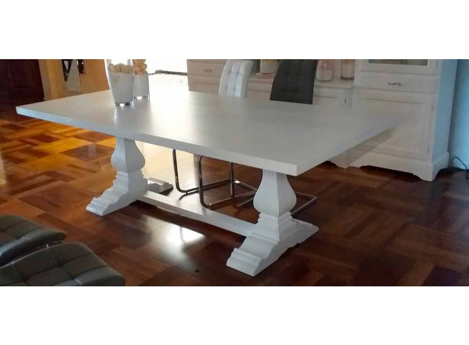 Classic Kitchen Table in Solid Poplar Made in Italy - Sarbello