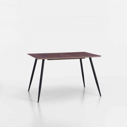 Modern Design Kitchen Table in Mdf and Matt Black Metal - Foulard
