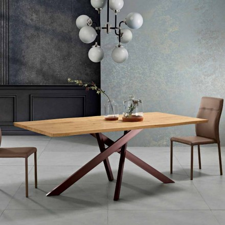 Design solid wood dining table made in Italy, Dionigi