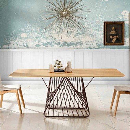 Design dining table in MDF wood made in Italy, Mitia