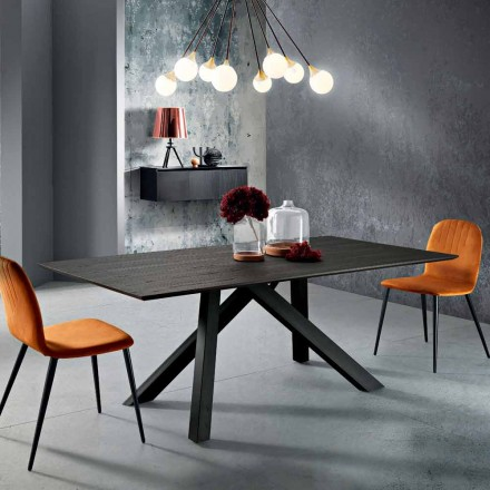 Dining table in MDF wood and metal made in Italy, Wilmer