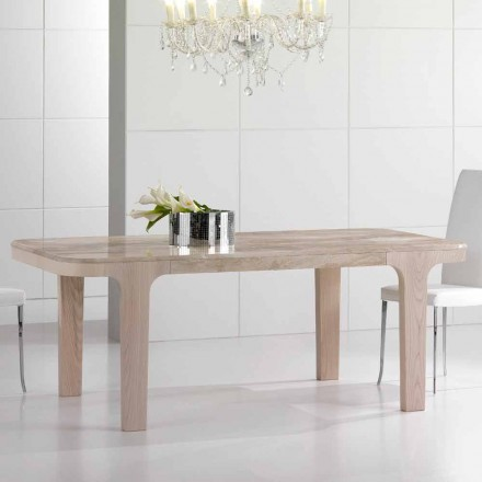 High Quality Dining Table in Daino Marble and Wood Made in Italy - Brennero