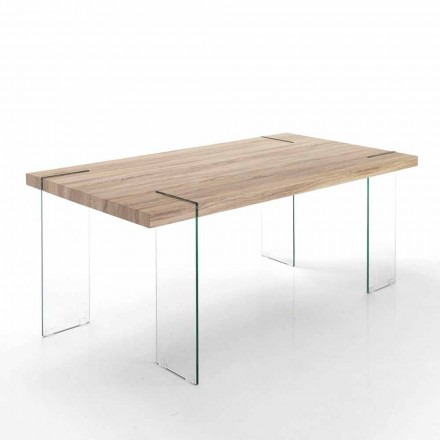 Modern kitchen table with Mdf top and glass base – Joey