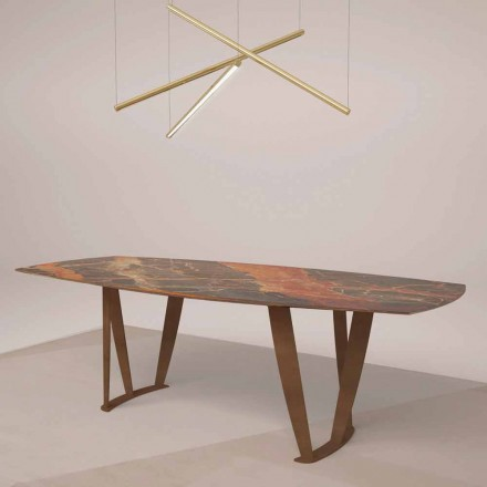 Luxury Rectangular Table in Ombra Marble by Caravaggio and Metal - Naruto