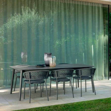 Moon Alu outdoor table extensible up to 3mt by Talenti, with ceramic