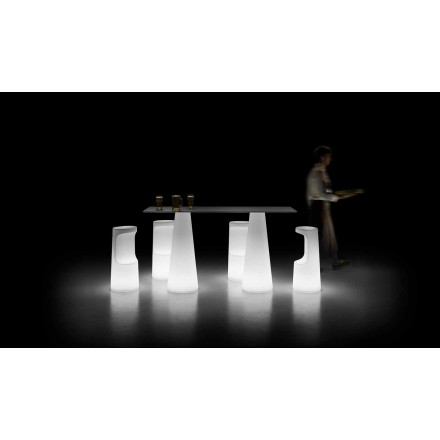 Design Outdoor Table with Luminous Base with LED Lights Made in Italy - Forlina