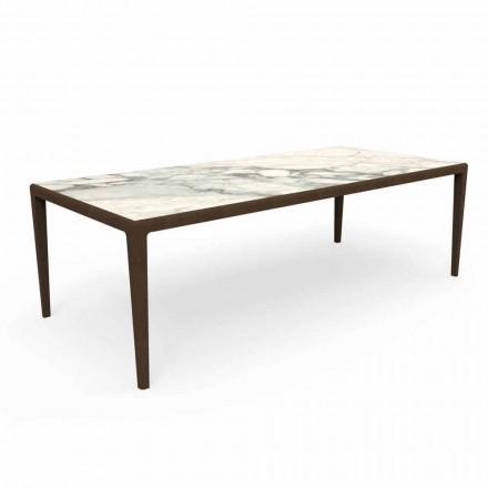 Outdoor Design Table in Teak Wood and Capraia Stoneware - Cruise Teak Talenti
