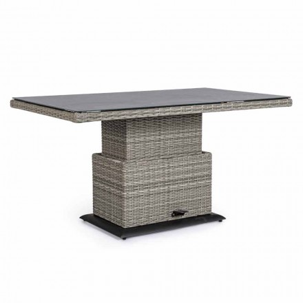 Outdoor Table in Ceramic and Synthetic Fiber, Adjustable Height - Claire