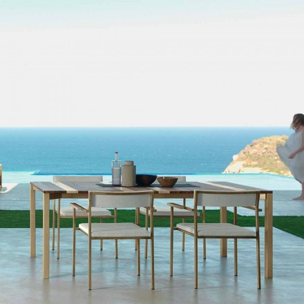 Outdoor wooden table Casilda 200x100 cm, with stainless steel frame