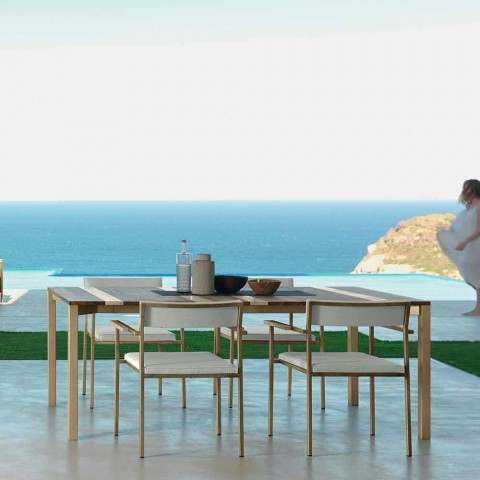 Casilda Talenti modern outdoor table in wood and stainless steel 200x100