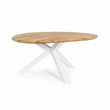 Round Outdoor Table in Teak with Aluminum Base, Homemotion - Selenia