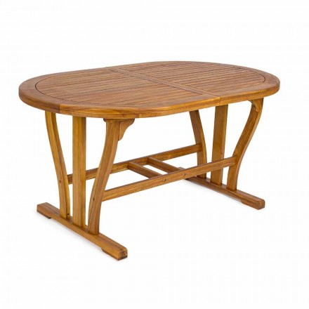 Extendable Garden Table Up to 200 cm Oval in Wood - Roxen