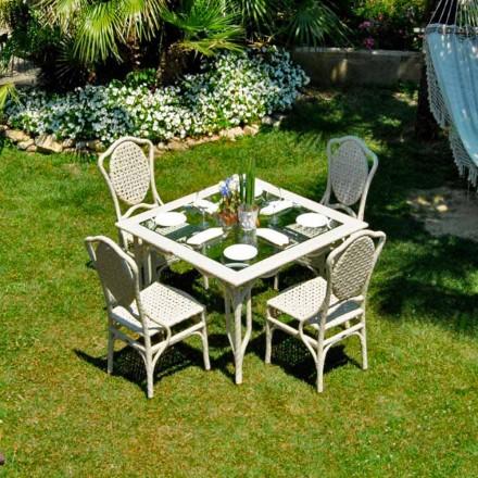 Handmade garden table Romeo, with glass top