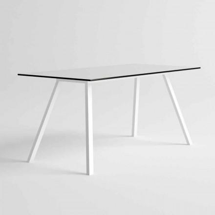 Garden Table in White Aluminum and HPL Laminate Modern Design - Oceania2
