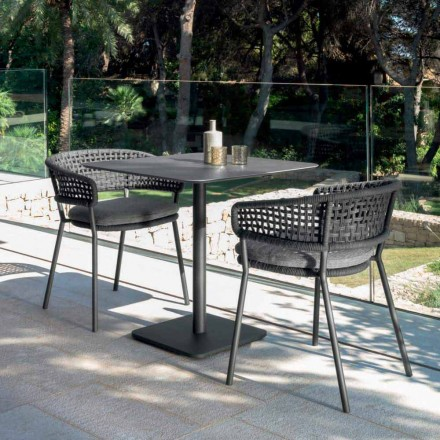 Moon Alu modern garden table by Talenti, 80x80 with ceramic