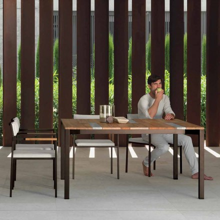 Outdoor wooden table Casilda with stainless steel frame, 150x150 cm