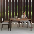 Casilda Talenti garden table in wood and stainless steel 150x150 cm