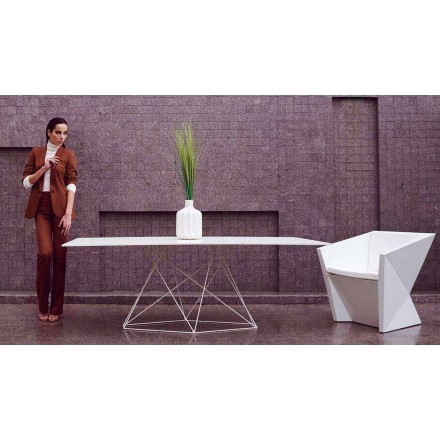 Modern garden table Faz by Vondom in HPL and stainless steel