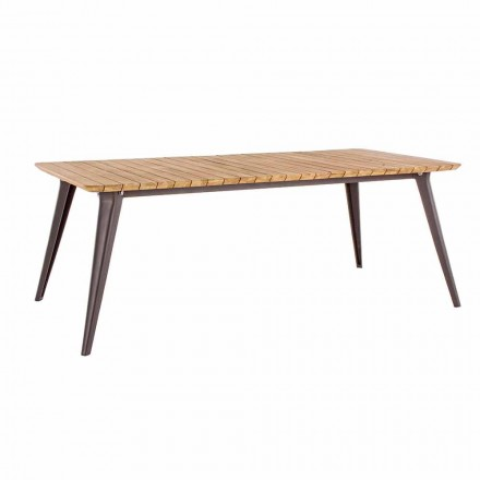 Garden table Top in Teak Wood and Aluminum Base Homemotion - Amabel