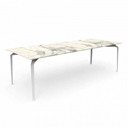 Modern Rectangular Garden Table in Stoneware and Aluminum - Cruise Alu Talenti