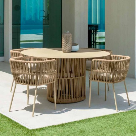 Cliff round garden table by Talenti, in aluminum, designed by Palomba