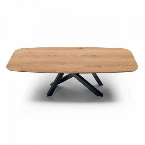 Barrel Dining Table with Veneered Top Made in Italy - Settimmio
