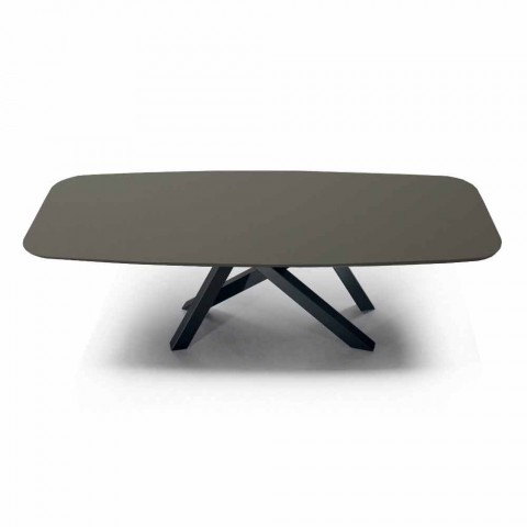 Barrel Dining Table in Fenix and Luxury Made in Italy Steel - Settimmio