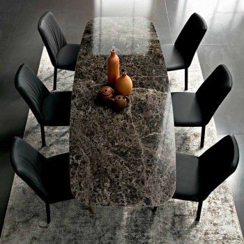 Barrel Dining Table in Hypermarble and Steel Made in Italy, Luxury - Grotta