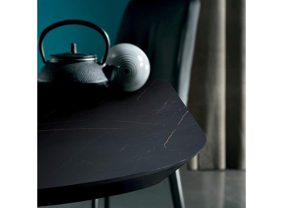 Barrel-shaped Dining Table in Marble Effect Laminate Made in Italy - Grotta