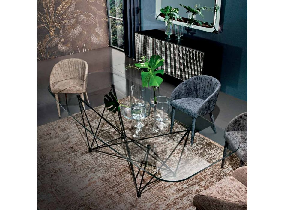 Barrel Dining Table in Glass and Black Steel Made in Italy - Ezzellino