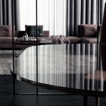 Barrel Dining Table in Glass and Steel Made in Italy - Grotta