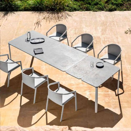 Outdoor Extendable Dining Table 318 cm in Aluminum and Stoneware - Filomena