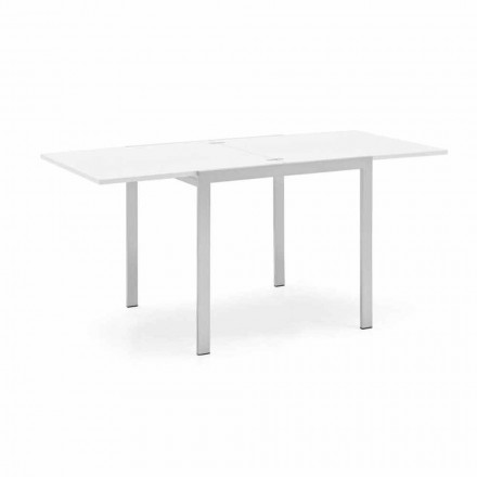 Extendable Dining Table Book White Melamine Wood and Metal - Aladdin