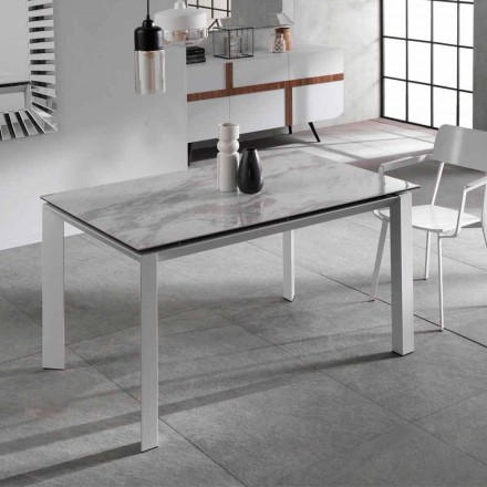 Extensible dining table with ceramic plan marble effect Nosate
