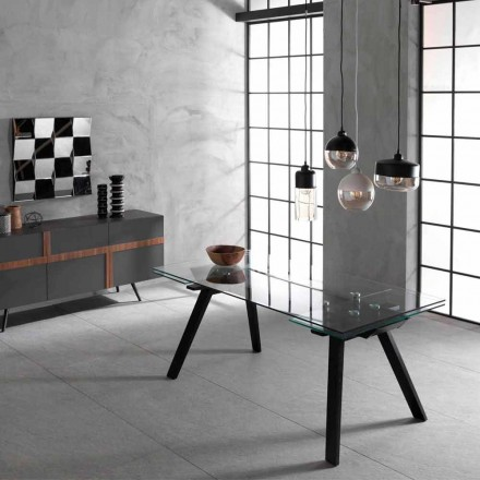 Extensible table up to 260 cm, glass plan and ashwood Empoli