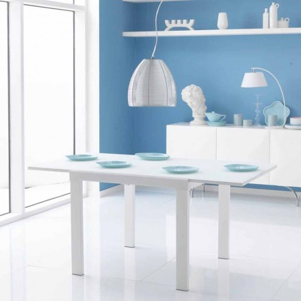 Extendable dining table with Teo glass top