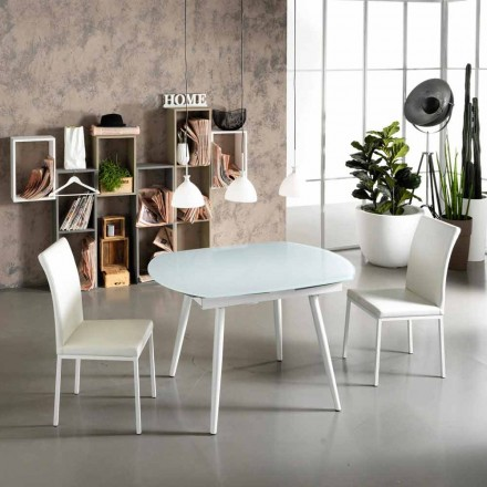 Extendable dining table with Japan New glass top