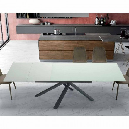 Extendable Dining Table Up to 260 cm in Modern Design Glass - Gabicce