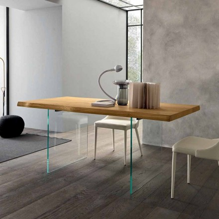 Extendable Dining Table Up to 280 cm in Wood and Glass Made in Italy - Focus