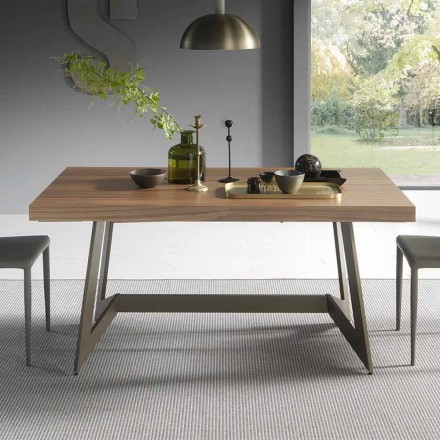 Extendable Dining Table Up to 160 cm in Wood Made in Italy - Eugenia
