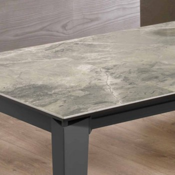 Extendable Dining Table Up to 170 cm in Modern Metal and Ceramic - Syrta
