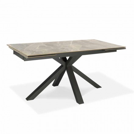 Extendable Dining Table Up to 240 cm in Metal and Ceramic - Laryssa