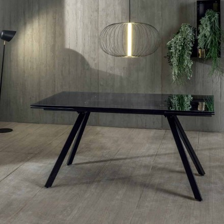 Extendable Dining Table up to 240 cm in Tempered Black Fumé Glass - Fener