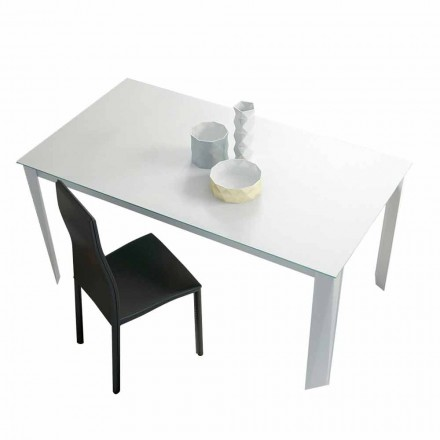 Extendable Dining Table Up to 250 cm in Matt Glass Made in Italy - Namiba