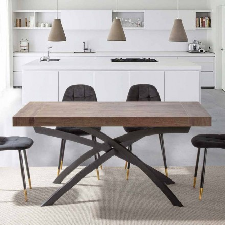 Extendable Dining Table Up to 260 cm in Melamine Wood and Metal - Lukas