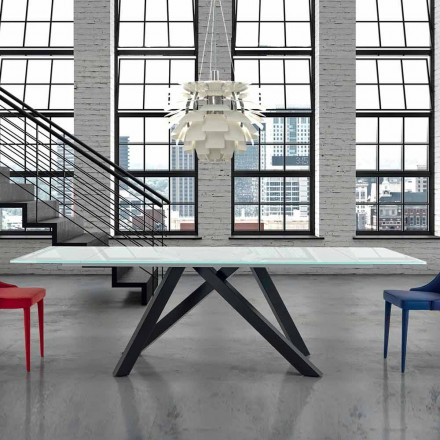 Extendable Glass Dining Table up to 300 cm Made in Italy - Settimmio